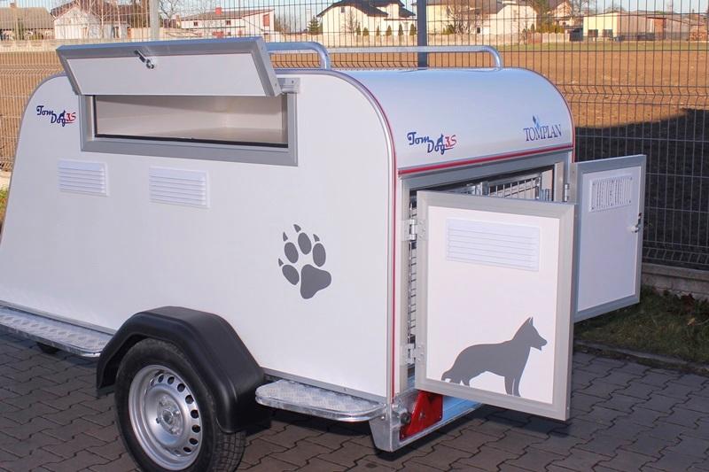 Remorque pour chiens en polyester avec coffre de toit
